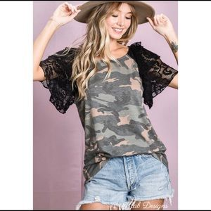 New! Puff Lace Sleeve Camo Soft Knit Top